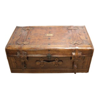 French Antique Leather Trunk Circa 1900 For Sale