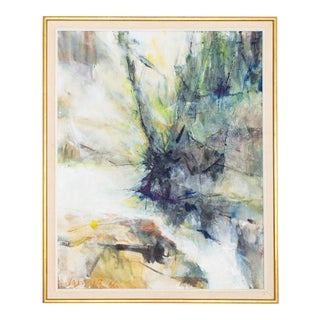 Original Abstract Oil Painting in Gold and Linen Frame Signed by California Artist Ilse Cassirer, 1966