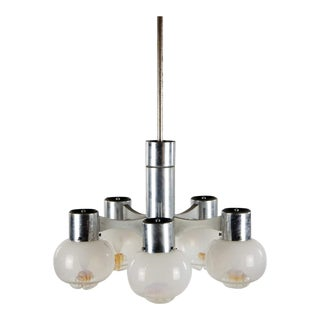 1970s Gaetano Sciolari Chrome and Murano Glass Globe 6 Light Chandelier For Sale