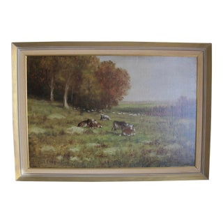 Vintage Mid-Century Carl Chapman Pastoral Scene with Cows Oil on Canvas Painting For Sale