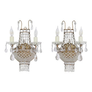 Italian Empire-Style Crystal Beaded Sconces - a Pair For Sale