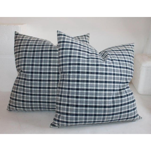 19th Century Homespun Linen Blue and White Pillows- 4 Pieces For Sale - Image 4 of 7