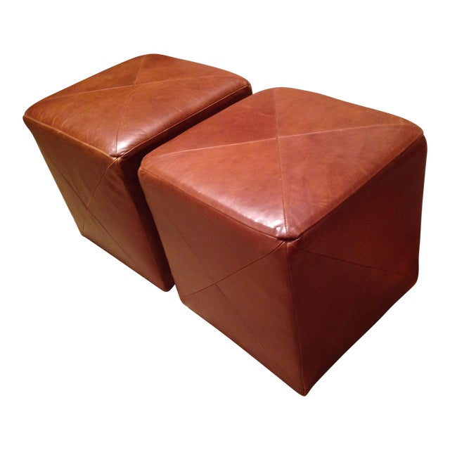Leather Cube Ottoman - A Pair - Image 1 of 5