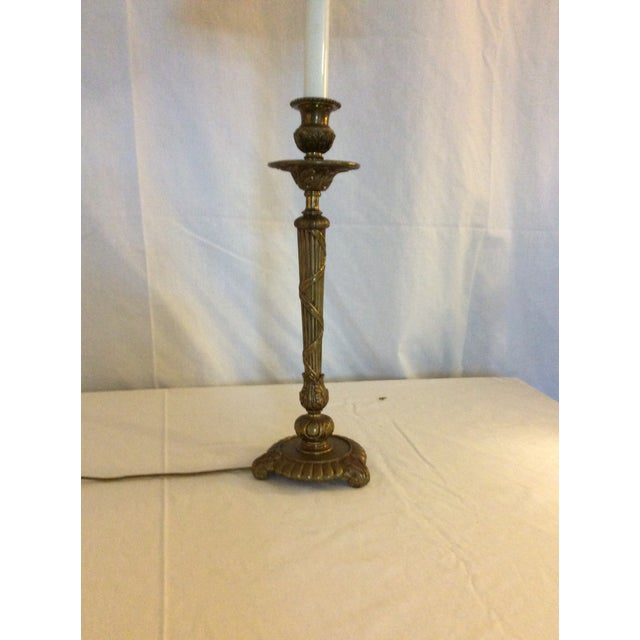 Mid 20th Century Classical Brass Candlestick Lamp For Sale - Image 5 of 8