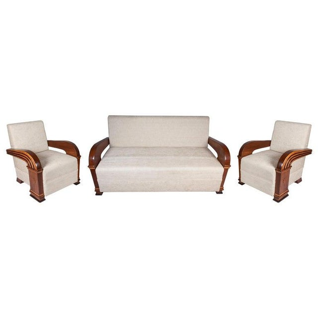 Art Deco Upholstered Teak Loveseat & Chairs Living Room Set - 3 Pc. For Sale - Image 11 of 11