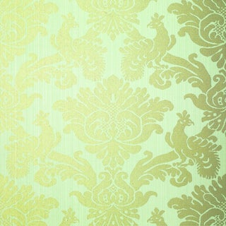 Schumacher Valette Strie Damask Wallpaper in Robin's Egg For Sale