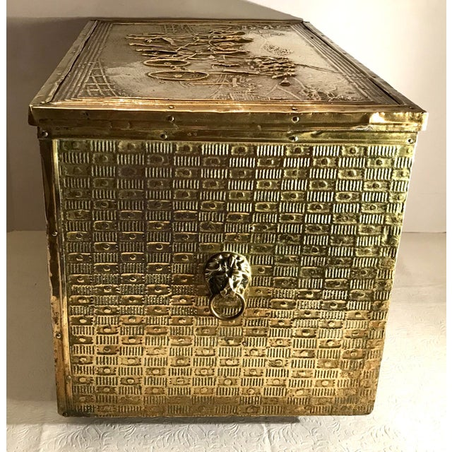 Early 20th Century Antique Brass Encased Kindling Box For Sale - Image 5 of 9