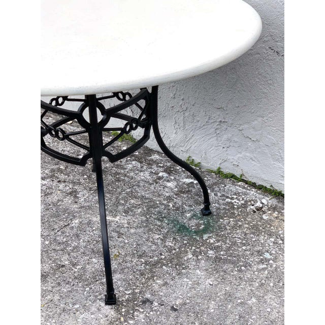 Late 20th Century Neoclassical Horse-Bit & Travertine Garden/Patio Table Provenance Celine Dion For Sale - Image 5 of 8