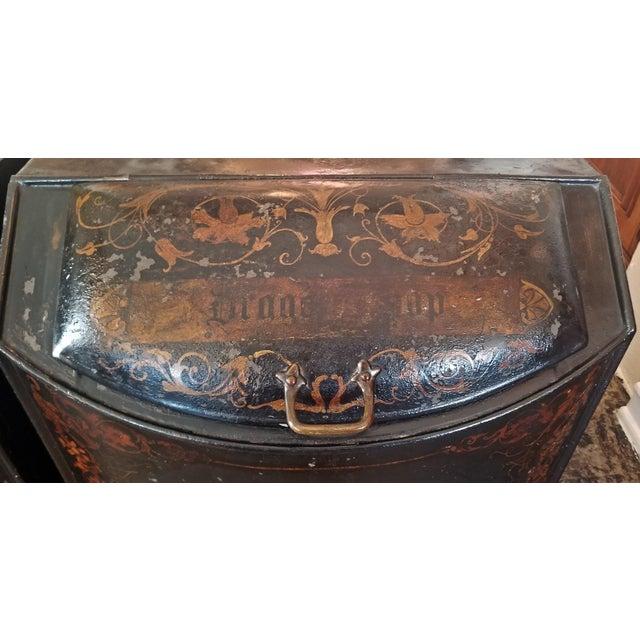 Metal Pair of 19c American Henry Troemner Philadephia Pa Chinoiserie Tea Bins For Sale - Image 7 of 13