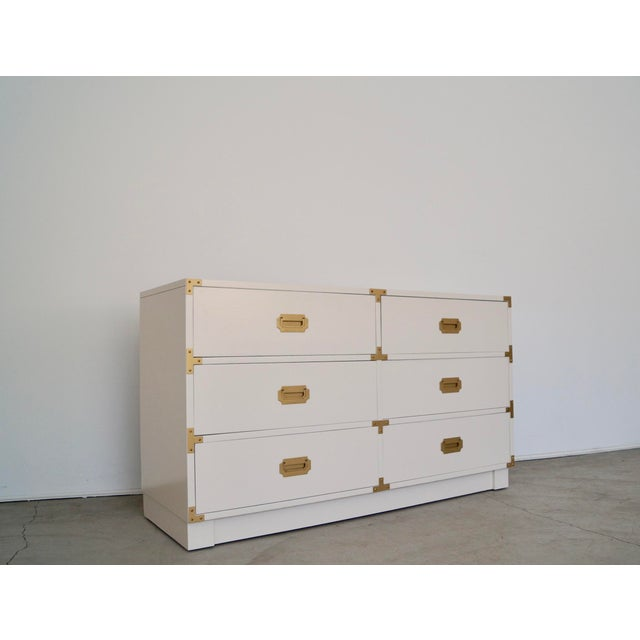 Campaign 1960's Mid-Century Hollywood Regency Campaign Dresser For Sale - Image 3 of 13