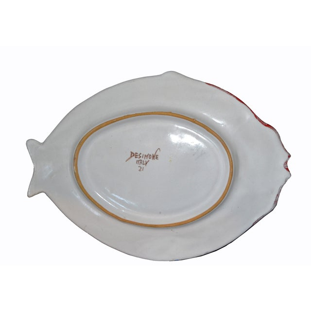 White Italian Giovanni Desimone Hand Painted Pottery, Fish Platter, Serving Plate For Sale - Image 8 of 12