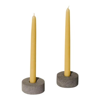 Volcanic Gray Stone Candleholders - a Pair For Sale