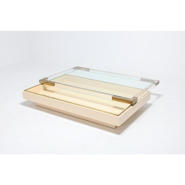 Metal Sliding Coffee Table in Brass, Lucite and Lacquer by Charles Hollis Jones 1970s For Sale - Image 7 of 9
