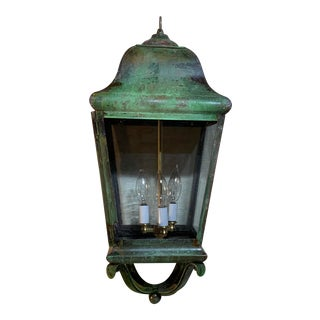 1990s Solid Brass Hand Crafted Hanging Lantern For Sale