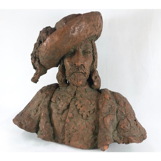 "This is a vintage hand-sculpted terra cotta bust of a musketeer. The piece is signed ""Groh"" on the left shoulder by..."