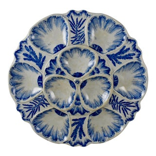 19th C. Vieillard & Cie. French Chinoiserie Large Oyster Plate For Sale