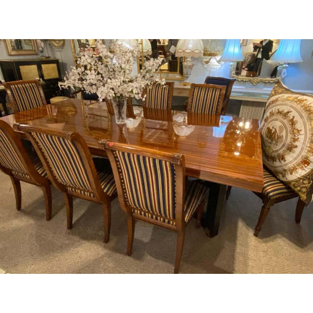 Lorin Marsh Dining Conference Table Smorgasbord Lacquered Zebra-Wood and Brass For Sale In New York - Image 6 of 12