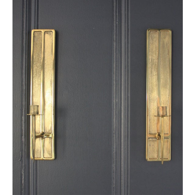 Mid-Century Modern Mid-Century Modern Brass Candle Sconces - A Pair For Sale - Image 3 of 6