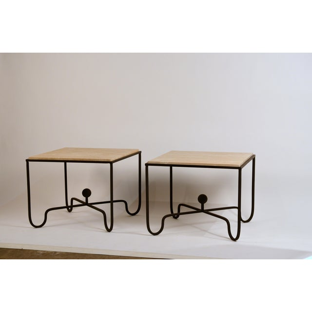 Large 'Entretoise' Cream Travertine Side Tables by Design Freres - a Pair For Sale In Los Angeles - Image 6 of 6