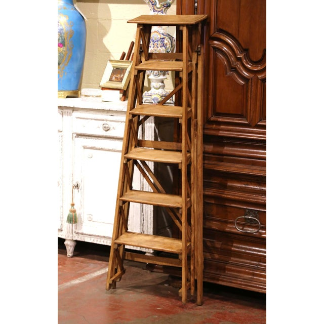 19th Century French Napoleon III Carved Walnut Folding Library Six-Step Ladder For Sale - Image 10 of 12