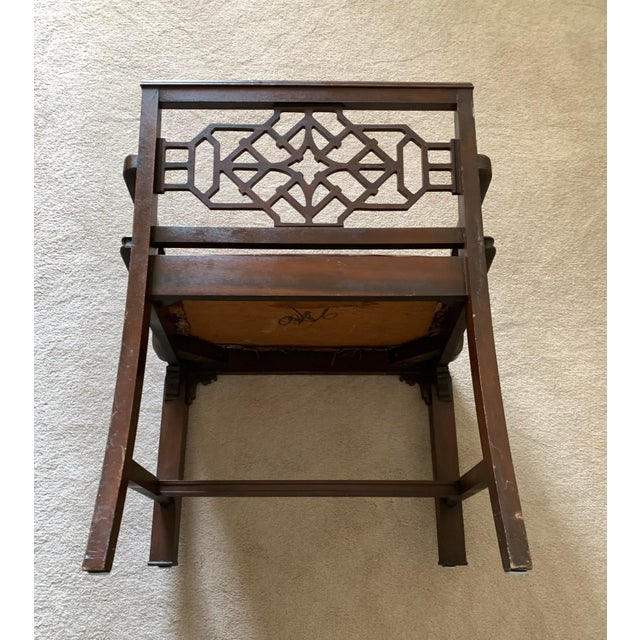 Early 20th Century Williamsport Furniture Company Chinese Chippendale Vanity with Mirror and Bench For Sale - Image 12 of 13