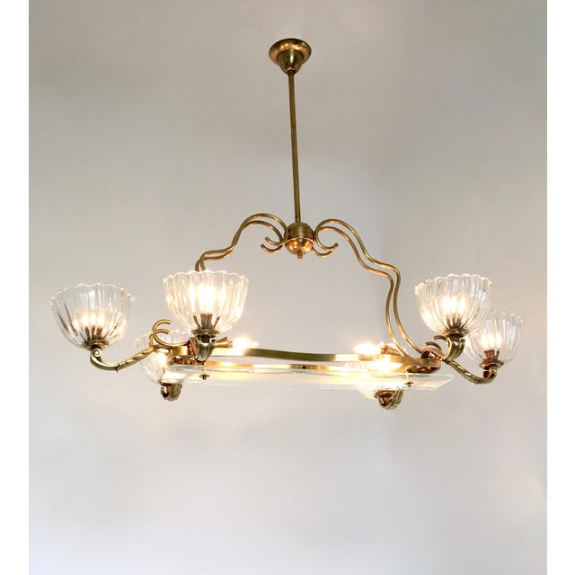 Excellent large blown glass and brass chandelier by ercole barovier this chandelier features 8 lights and a brass structure with cast brass details it has aloadofball Image collections