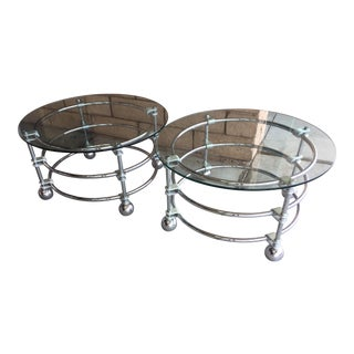 Mid Century Modern Jay Spectre for Century Furniture Chrome Side Tables - a Pair For Sale