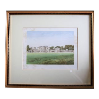 "1880 Antique English Estate ""Heaton Park"" Print Matted and Framed For Sale"