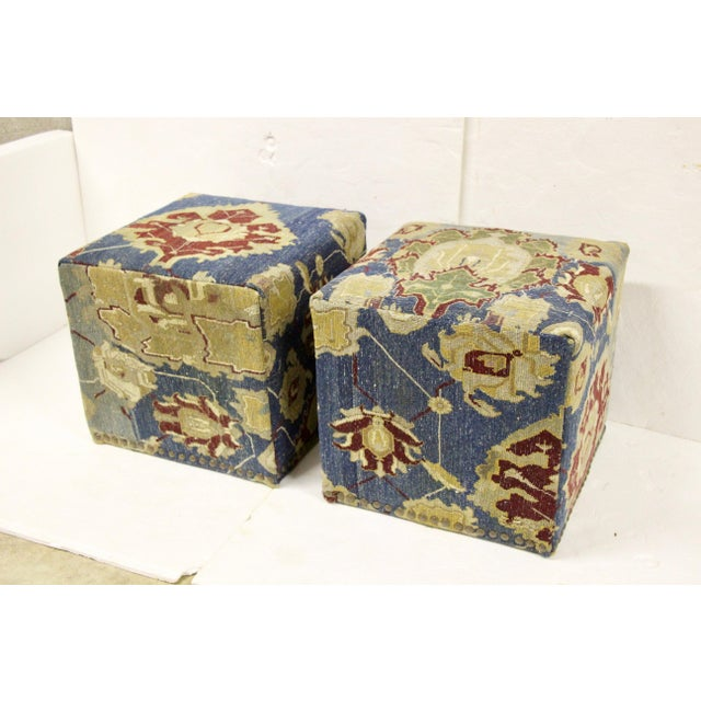 Boho Chic Antique Persian Waterfall Stools, Pair For Sale - Image 3 of 8