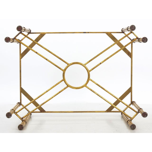 Vintage Gilt Iron Cocktail Table With Red-Painted Wooden Tray, 20th Century For Sale - Image 12 of 13