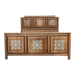 Exquisite Syrian Mother of Pearl Queen Bed For Sale