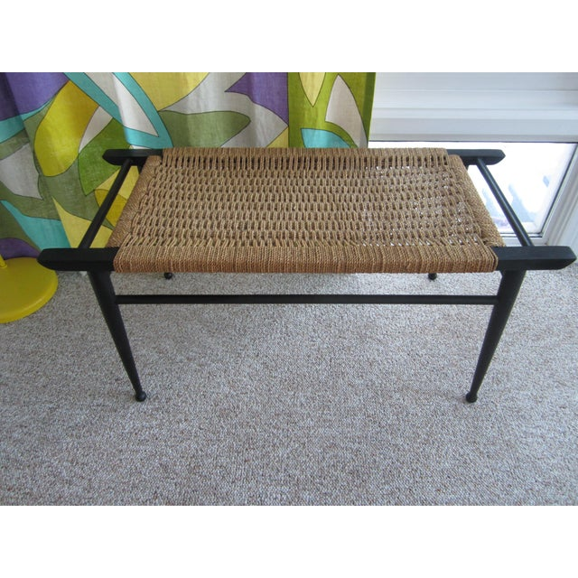 Vintage Mid-Century Modern Woven Rope Ebony Stained Wooden Bench - Image 3 of 7