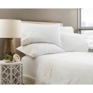 Capri Embroidered Flat Sheet Queen - Limestone Preview