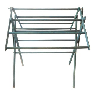 Deep Teal Blue Antique Wooden Folding Rack For Sale