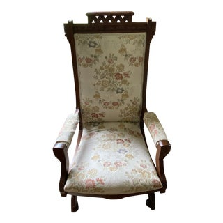 Victorian Eastlake Walnut Burl Parlor Arm Chair Platform Rocker For Sale