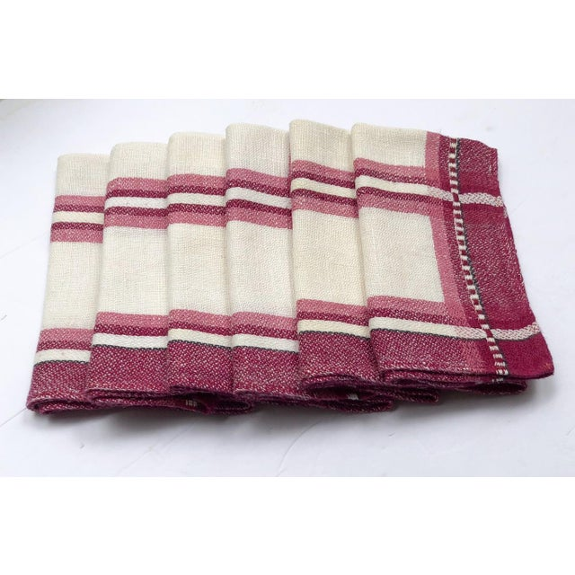Early 20th Century Vintage Cranberry Plaid Linen Tea Napkins or Guest Towels - Set of 6 For Sale - Image 5 of 5