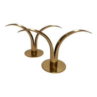 Ystad Swedish Brass Lily Candlesticks, Pair For Sale