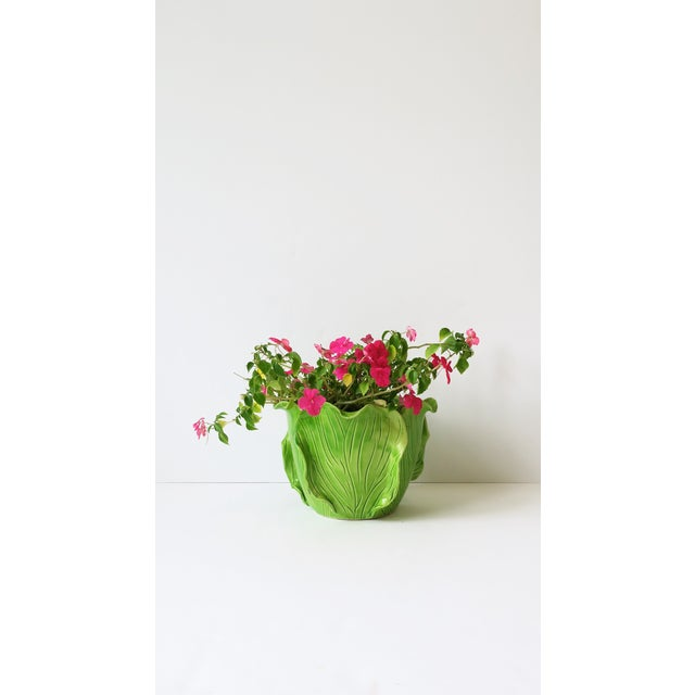 Modern French Green Lettuce or Cabbage Leaf Cachepot by Jean Roger, Paris, France For Sale - Image 3 of 13