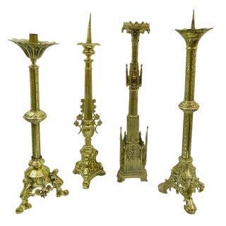 19th Century Polished Brass Decorative Prickets or Candlesticks For Sale