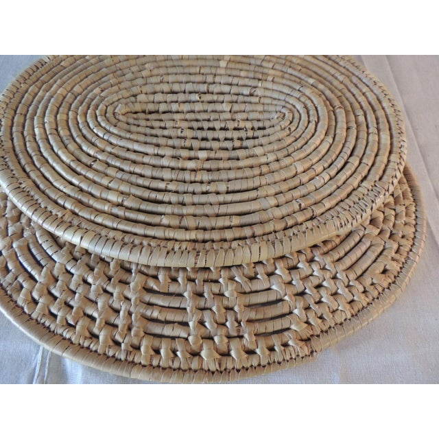 Boho Chic Set of (6) Oval Woven Abaca Placemats For Sale - Image 3 of 9