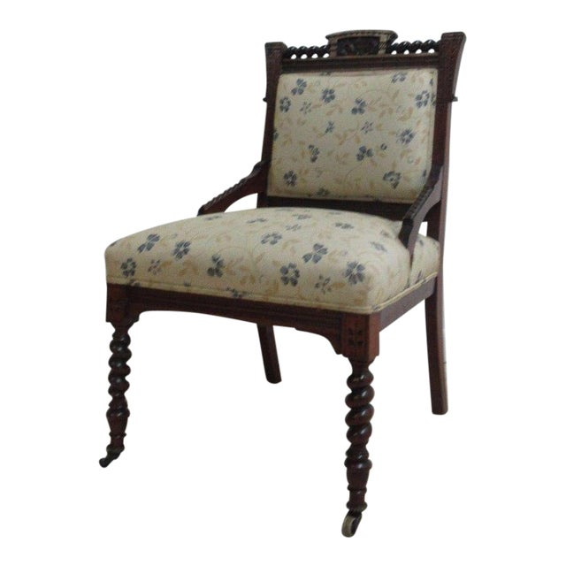Antique Victorian Carved Walnut Lounge Chair For Sale