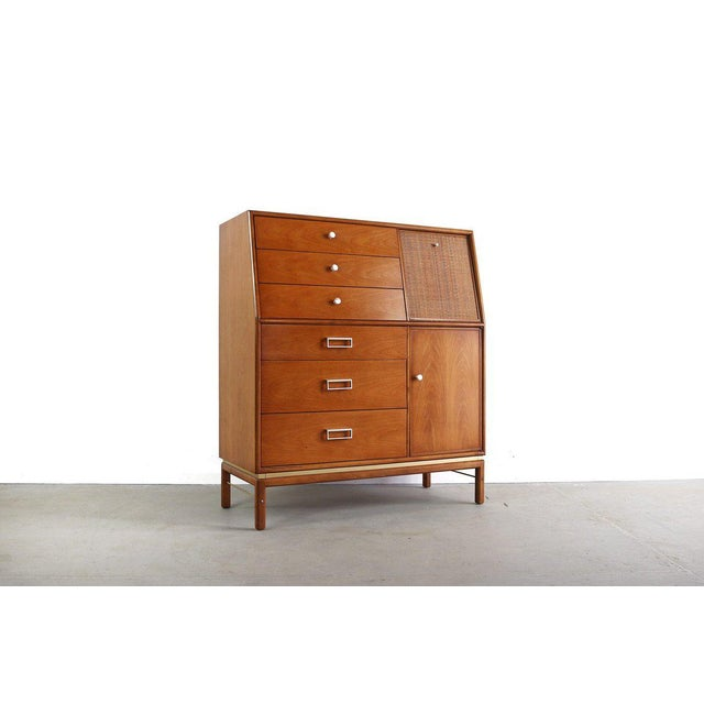 1960s 1960s Danish Modern Kipp Stewart for Drexel Walnut/Brass Tall Dresser For Sale - Image 5 of 5