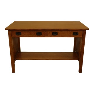 Stickley Mission Oak Arts & Crafts 2 Drawer Desk For Sale