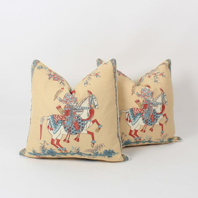 Feather Chinoiserie Linen Emperor Pillows 22x22 Square, a Pair For Sale - Image 7 of 7