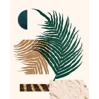 Modern Botanical Collage in Green and Terracotta + Minimal Geometric Shapes For Sale