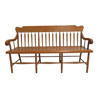 Vintage Custom Amish Made Oak Windsor Rail Road Deacon Bench For Sale