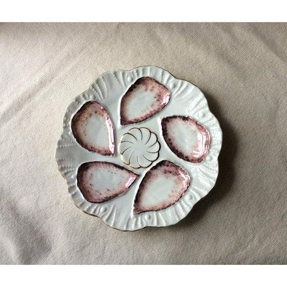 Antique French Porcelain Copper Lustre Glaze Oyster Plate For Sale - Image 5 of 8