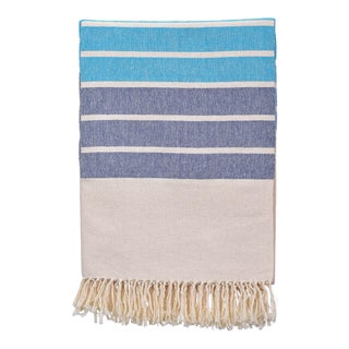 Gradient Cotton Blanket in Shades of Blue Size Extra Large For Sale