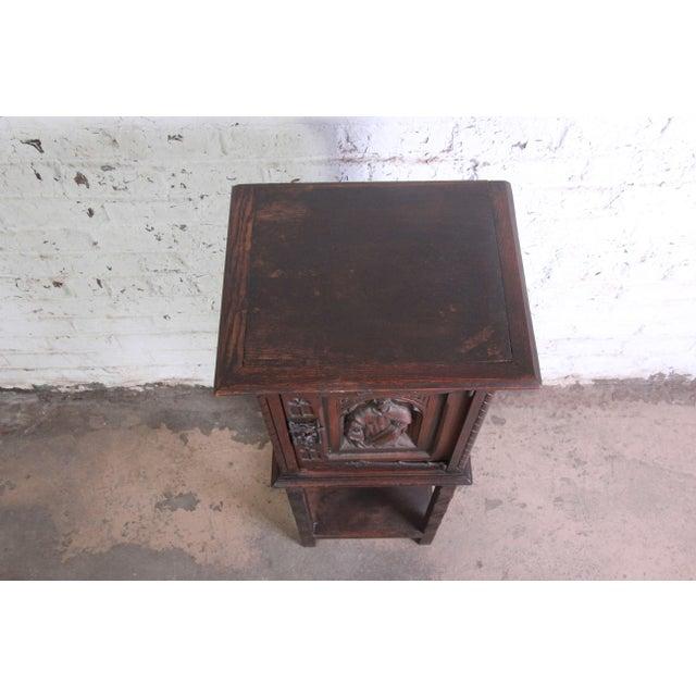 Oak 19th Century Belgian Dark Walnut Gothic Bar Cabinet For Sale - Image 7 of 10