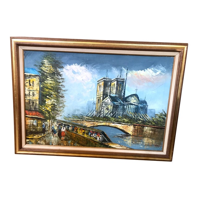 Late 20th Century Notre Dame and the Seine Framed Oil on Canvas Painting For Sale